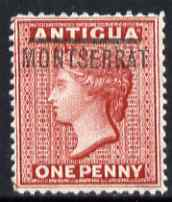 Montserrat 1876-83 QV opt on Antigua 1d Crown CC fresh mounted mint SG1