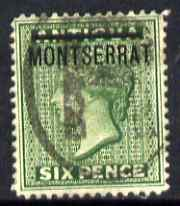 Montserrat 1876-83 QV opt on Antigua 6d green CC with circular cancel SG2