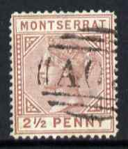 Montserrat 1880 QV 2.5d red-brown CC fine used with light AO8 cancel SG4