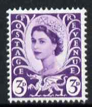 Great Britain Regionals - Wales 1958-67 Wilding 3d deep lilac wmk Crowns centre phosphor band unmounted mint SG W1p