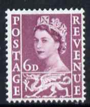 Great Britain Regionals - Wales 1958-67 Wilding 6d deep claret wmk Crowns unmounted mint SG W3