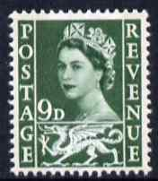 Great Britain Regionals - Wales 1958-67 Wilding 9d bronze-green wmk Crowns 2 phosphor bands unmounted mint SG W4, stamps on