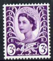 Great Britain Regionals - Wales 1967-69 Wilding 3d deep lilac no wmk unmounted mint SG W7