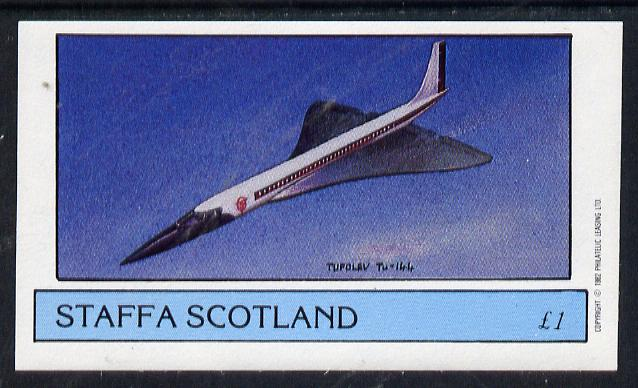 Staffa 1982 Aircraft #6 (Tupolev TU-144) imperf souvenir sheet (�1 value) unmounted mint