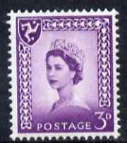 Isle of Man 1958-68 Wilding 3d deep lilac wmk Crowns centre phosphor band unmounted mint SG 2p
