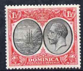 Dominica 1923-33 KG5 Badge 1.5d black & scarlet mounted mint SG 74