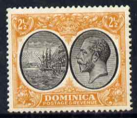 Dominica 1923-33 KG5 Badge 2.5d black & orange-yellow mounted mint SG 77