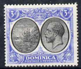 Dominica 1923-33 KG5 Badge 3d black & ultramarine mounted mint SG 79