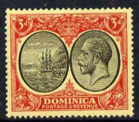 Dominica 1923-33 KG5 Badge 3d black & red on yellow mounted mint SG 80