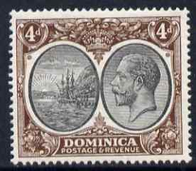 Dominica 1923-33 KG5 Badge 4d black & brown mounted mint SG 81