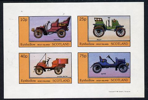Eynhallow 1981 Vintage Cars #3 (Packard, Riley, De Dion & Rover) imperf  set of 4 values (10p to 75p) unmounted mint