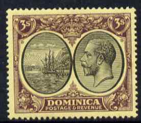 Dominica 1923-33 KG5 Badge 3s black & purple on yellow Scrpt CA mounted mint SG 86