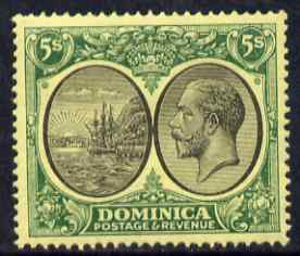 Dominica 1923-33 KG5 Badge 5s black & green on yellow Scrpt CA mounted mint SG 88
