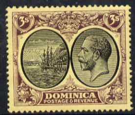 Dominica 1923-33 KG5 Badge 3s black & purple on yellow MCA mounted mint SG 89