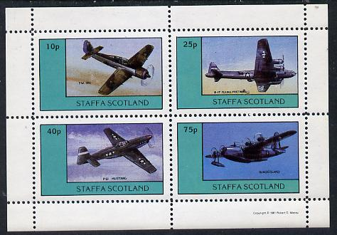 Staffa 1981 WW2 Aircraft #1 (FW 190, B17 Flying Fortress, P51 Mustang & Sunderland) perf  set of 4 values unmounted mint