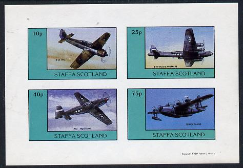 Staffa 1981 WW2 Aircraft #1 (FW 190, B17 Flying Fortress, P51 Mustang & Sunderland) imperf  set of 4 values unmounted mint
