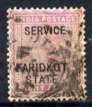 Indian States - Faridkot 1887 Official 8a magenta opt