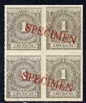 Uruguay 1884-86 Numeral 1c grey block of 4 opt