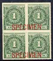 Uruguay 1888 Numeral 1c green block of 4 opt
