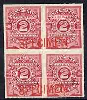 Uruguay 1888 Numeral 2c carmine-rose block of 4 opt