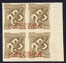 Uruguay 1888 Numeral 20c bistre block of 4 opt