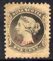 Nova Scotia 1863 QV 1c grey-black with SPECIMEN overprint in red in an arc - believed to be a forgery by the Senf Brothers with the overprint being attributed to Fournier