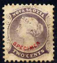Nova Scotia 1863 QV 2c purple with SPECIMEN overprint in red in an arc - believed to be a forgery by the Senf Brothers with the overprint being attributed to Fournier