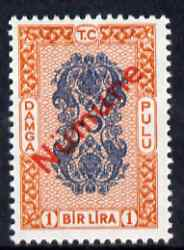 Turkey 1980's Stamp Duty 1 Lira blue & orange overprinted Numune (Specimen) unmounted mint ex De La Rue archives
