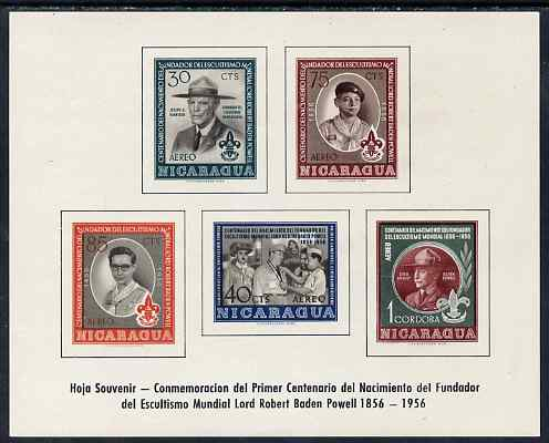 Nicaragua 1957 Birth Centenary of Lord Baden Powell imperf m/sheet, SG MS 1277a