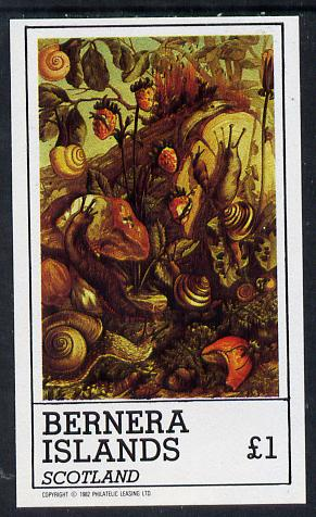 Bernera 1982 Nature Table (Snails, Fungi, Strawberries) imperf souvenir sheet (�1 value) unmounted mint