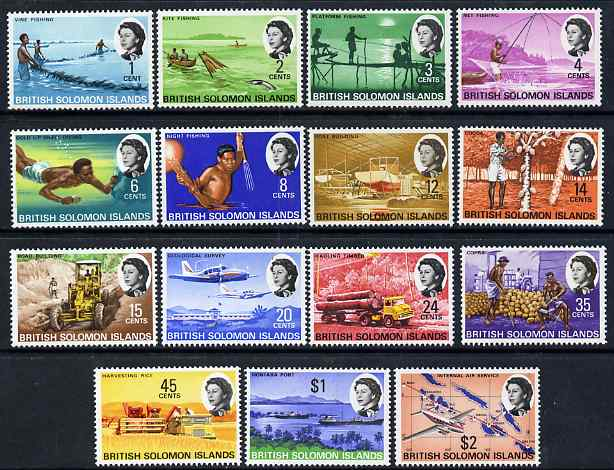 Solomon Islands 1968-71 Pictorial definitive set complete 15 values 1c to $2 lightly mounted mint SG166-80