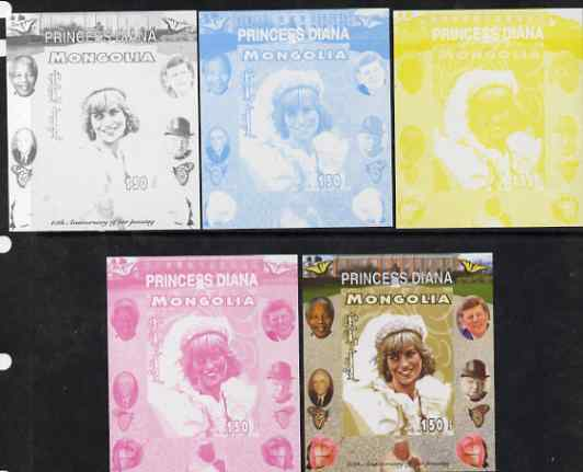 Mongolia 2007 Tenth Death Anniversary of Princess Diana 150f imperf m/sheet #06 with Churchill, Kennedy, Mandela, Roosevelt & Butterflies in background, the set of 5 progressive proofs comprising the 4 individual colours plus all 4-colour composite, unmounted mint