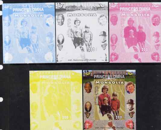 Mongolia 2007 Tenth Death Anniversary of Princess Diana 200f imperf m/sheet #08 with Churchill, Kennedy, Mandela, Roosevelt & Butterflies in background, the set of 5 progressive proofs comprising the 4 individual colours plus all 4-colour composite, unmounted mint