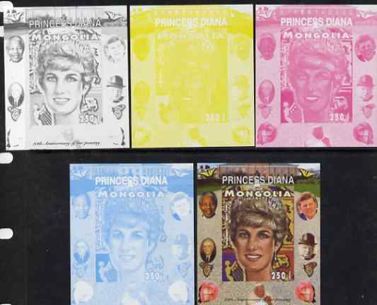 Mongolia 2007 Tenth Death Anniversary of Princess Diana 250f imperf m/sheet #09 with Churchill, Kennedy, Mandela, Roosevelt & Butterflies in background, the set of 5 progressive proofs comprising the 4 individual colours plus all 4-colour composite, unmounted mint