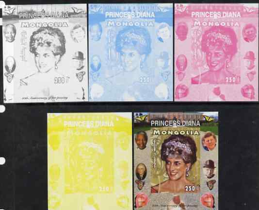 Mongolia 2007 Tenth Death Anniversary of Princess Diana 250f imperf m/sheet #10 with Churchill, Kennedy, Mandela, Roosevelt & Butterflies in background, the set of 5 progressive proofs comprising the 4 individual colours plus all 4-colour composite, unmounted mint