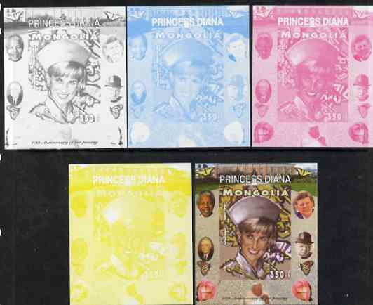 Mongolia 2007 Tenth Death Anniversary of Princess Diana 350f imperf m/sheet #13 with Churchill, Kennedy, Mandela, Roosevelt & Butterflies in background, the set of 5 progressive proofs comprising the 4 individual colours plus all 4-colour composite, unmounted mint