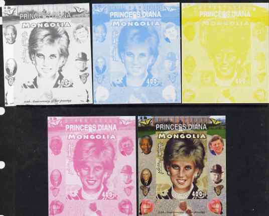 Mongolia 2007 Tenth Death Anniversary of Princess Diana 400f imperf m/sheet #16 with Churchill, Kennedy, Mandela, Roosevelt & Butterflies in background, the set of 5 prog...