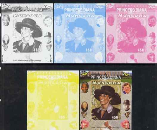 Mongolia 2007 Tenth Death Anniversary of Princess Diana 450f imperf m/sheet #17 with Churchill, Kennedy, Mandela, Roosevelt & Butterflies in background, the set of 5 prog...