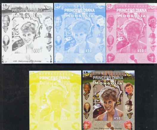 Mongolia 2007 Tenth Death Anniversary of Princess Diana 450f imperf m/sheet #18 with Churchill, Kennedy, Mandela, Roosevelt & Butterflies in background, the set of 5 progressive proofs comprising the 4 individual colours plus all 4-colour composite, unmounted mint
