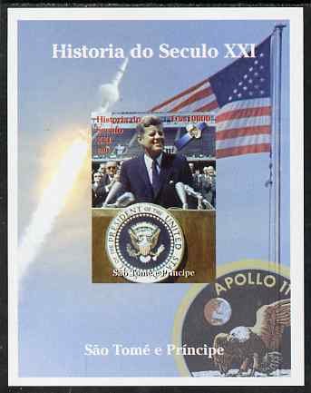 St Thomas & Prince Islands 2004 History of the 21st Century #03 Kennedy & Apollo 11 imperf m/sheet unmounted mint. Note this item is privately produced and is offered pur...