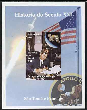 St Thomas & Prince Islands 2004 History of the 21st Century #04 Kennedy & Apollo 11 imperf m/sheet unmounted mint. Note this item is privately produced and is offered purely on its thematic appeal