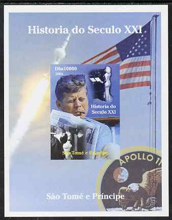 St Thomas & Prince Islands 2004 History of the 21st Century #05 Kennedy & Apollo 11 imperf m/sheet unmounted mint. Note this item is privately produced and is offered purely on its thematic appeal