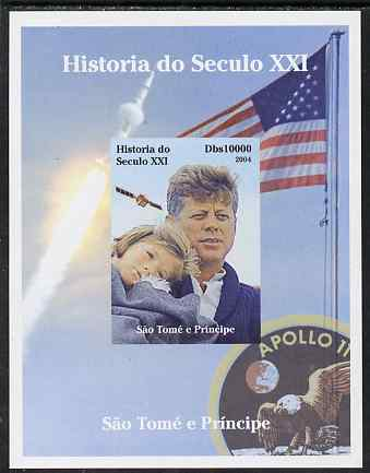 St Thomas & Prince Islands 2004 History of the 21st Century #08 Kennedy & Apollo 11 imperf m/sheet unmounted mint. Note this item is privately produced and is offered purely on its thematic appeal