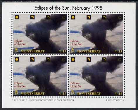 Montserrat 1998 Total Eclipse of the Sun $1.15 Volcano emitting black cloud perf sheetlet containing 4 values unmounted mint, SG 1105