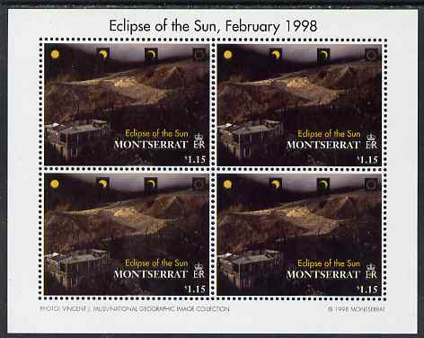 Montserrat 1998 Total Eclipse of the Sun $1.15 Lava flow perf sheetlet containing 4 values unmounted mint, SG 1107