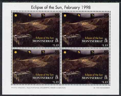 Montserrat 1998 Total Eclipse of the Sun $1.15 Lava flow perf sheetlet containing 4 values unmounted mint, SG 1107