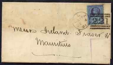 Great Britain 1891 wrapper Leith to Mauritius bearing Jubilee 2d