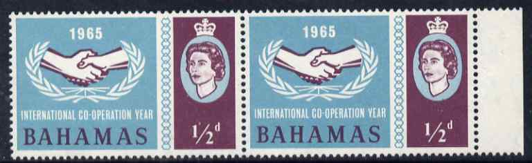 Bahamas 1965 International Co-operation Year 1/2d horiz pair, one stamp with 'Broken Leaves' variety unmounted mint