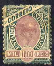 Brazil 1894 Mercury 1000r perf 11 mounted mint few minor perf faults, SG132 cat \A355