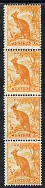 Australia 1948-56 Kangaroo 1/2d coil join strip of 4 unmounted mint, SG 228c